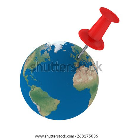 Red pin on Europe isolated on white background. Elements of this image furnished by NASA. - stock photo