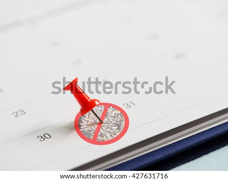 Red pin on 31 May calendar with no cigarette tobacco sign. Target to quit smoking. Concept of World No Tobacco Day in 31 May, stop smoking, do not smoke, quit smoking, protect your health and other. - stock photo