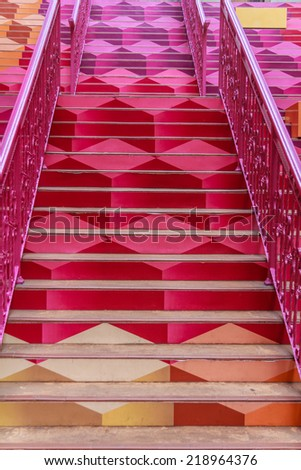 Red Pink Colorful Outdoor Stairway - stock photo