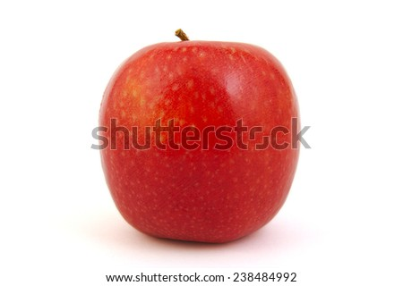 Red Pink Lady apple on white background