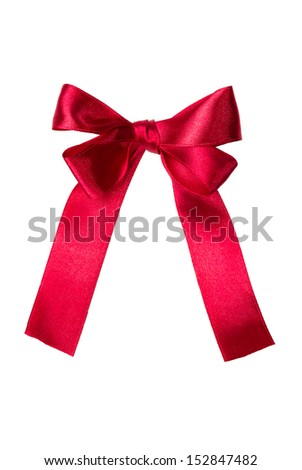 Red, pink satin gift bow. Tape. Isolated on white