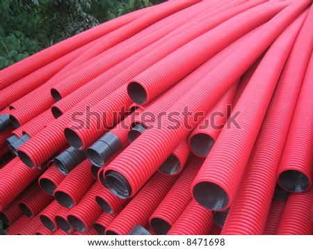 red pipes - Angle view - stock photo