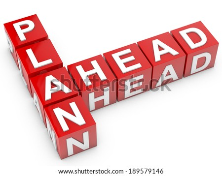 red Plan Ahead cubes over white background
