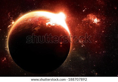 Red Planet at Sunrise - Elements of this Image Furnished By NASA - stock photo