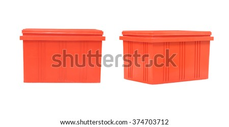 Red Plastic box Packaging of finished goods on white background and have clipping paths.