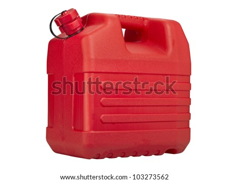 Red plastic can isolated on white background, clipping path - stock photo