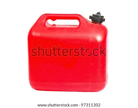 Red plastic can on white background - stock photo