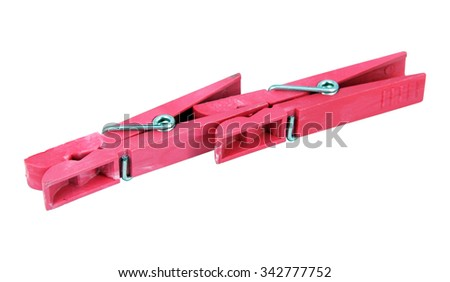 Red plastic clothespin. Home clothespin.