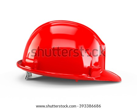 Red plastic construction helmet isolated on white background. - stock photo
