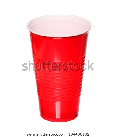 Red plastic cup one time use isolated on white background with clipping path.close up - stock photo