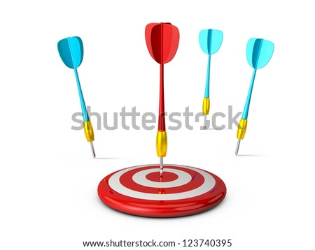 Red plastic dart arrow and target with reflection and failure of others, isolated on white background.