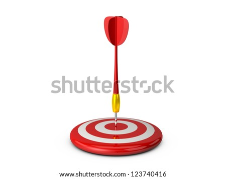 Red plastic dart arrow and target with white sprites and reflection, isolated on white background.