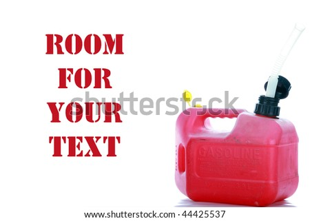 red plastic gas can isolated on white with room for your text - stock photo
