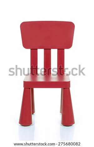 red plastic kids chair isolated on white background - stock photo
