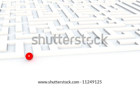 Red plastic sphere at an input in a labyrinth on a white background - stock photo