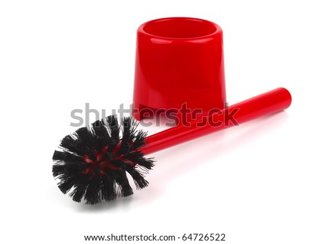 Red plastic toilet brush isolated on white - stock photo