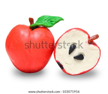 Red plasticine apple isolated on white background - stock photo
