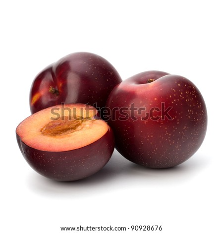 Red plum fruit isolated on white background - stock photo
