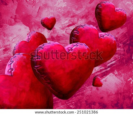 red plush heart shaped toys  - stock photo