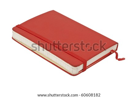 Red pocket journal on white - stock photo