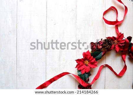 Red poinsettia Christmas wreath with ribbon