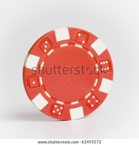 Red Poker Chip isolated on white background - stock photo