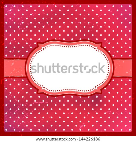 Red polka dot vintage lace frame with scratches