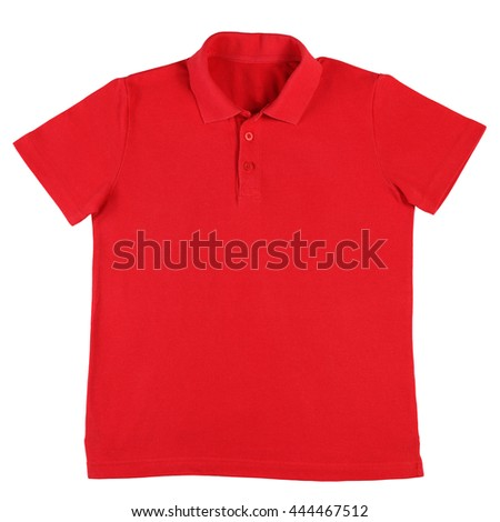 Red polo shirt isolated on white background - stock photo
