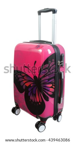 Red polycarbonate suitcase isolated on white with clipping path - stock photo