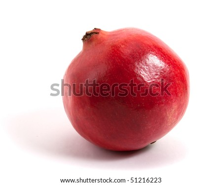 red pomegranate isolated on white background - stock photo