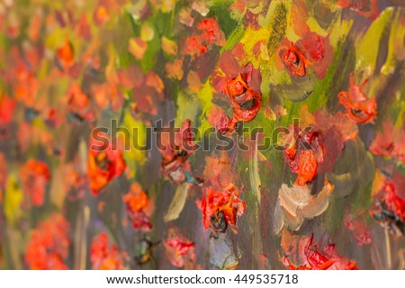 Red poppies flowers close fragment oil stock illustration 449535718 red poppies flowers close up fragment of oil painting artistic flowers image artistic palette mightylinksfo