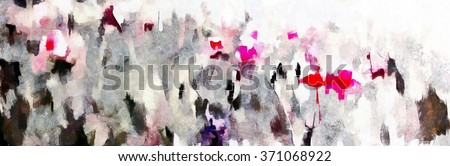 Red poppy field illustration, watercolor on paper background - stock photo