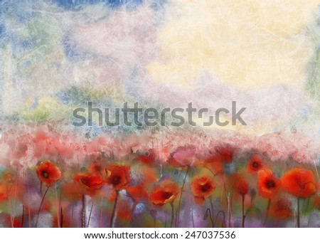 Red poppy flowers filed  watercolor painting - stock photo