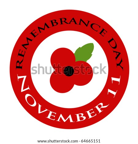 Red poppy Remembrance day design - stock photo