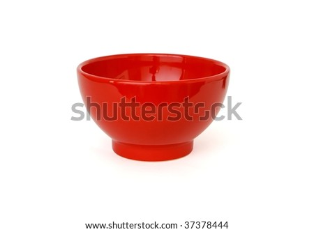 Red porcelain bowl isolated on white background