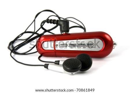 red portable music player on white background - stock photo