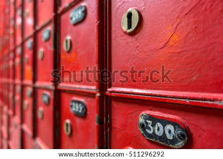 Red post boxes with number, retro vintage style