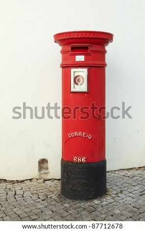 Red postbox in Portugal