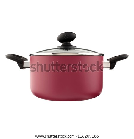 Red pot with cover. Isolated on white background - stock photo