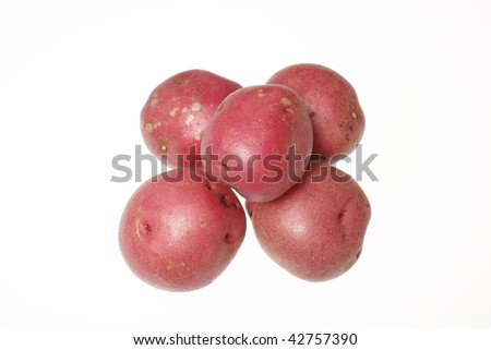 Red potatoes isolated on white.