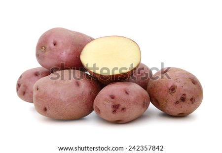 red potatoes on white background - stock photo