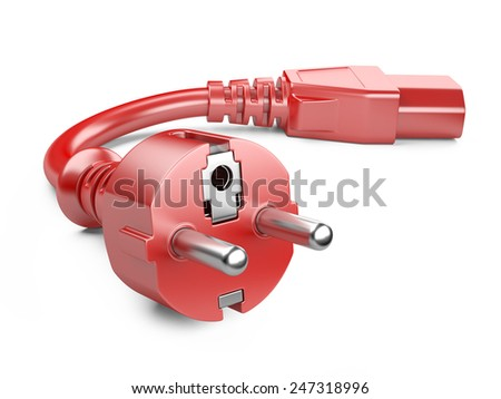Red power plug and electric cable. 3d illustration on a white background