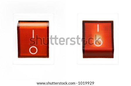 Red Power Switch - ON/OFF - stock photo