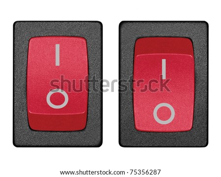 Red Power Switches On Off Position Stock Photo Royalty Free