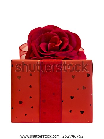 Red present isolated on white - stock photo
