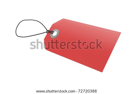 Red price tag with clipping path