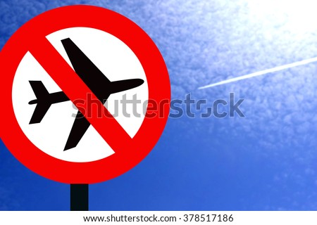 """Red prohibition sign """" do not fly Planes ! """" - stock photo"""