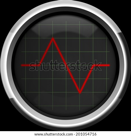 Red pulse to the heart monitor or oscilloscope screen, background - stock photo