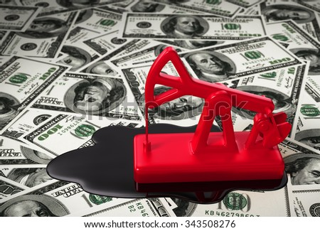 Red Pumpjack And Spilled Oil On The Money. 3D Scene. - stock photo