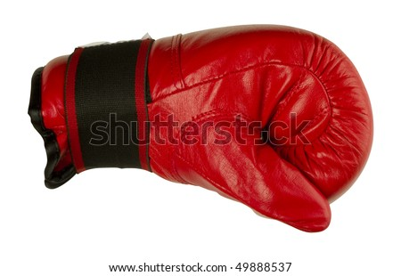 Red punching boxing glove - stock photo